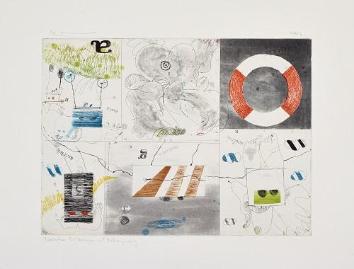 Barmbeker Bilderbogen mit Rettungsring, 1973, Farbradierung, I/XXV, 30, 5 x 42 cm