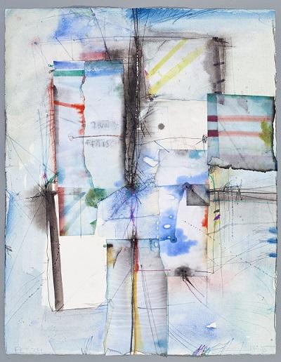 Fetisch, 1995, Aquarell mit Collage, 65 x 50 cm
