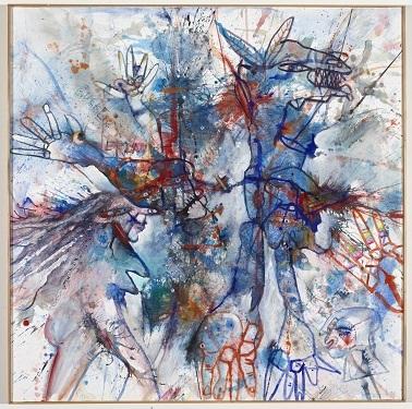Blaue Stunde, 1996, Acryl/Farbstift auf Leinwand, 100 x 100 cm