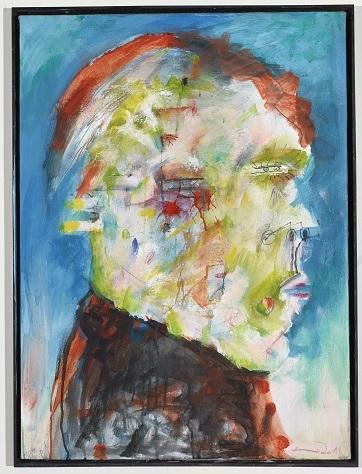 Junger Faun, 1990/2011, Acryl, Farbstift auf Leinwand, 82 x 60 cm