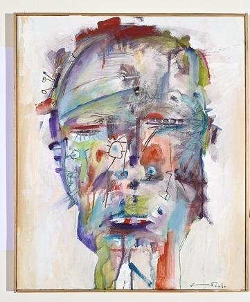 Maske, 2001/2010, Acryl, Kohle auf Leinwand, 60 x 50 cm