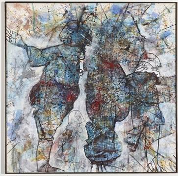 Chinesischblau, 1996, Öl auf Leinwand, 100 x 100 cm