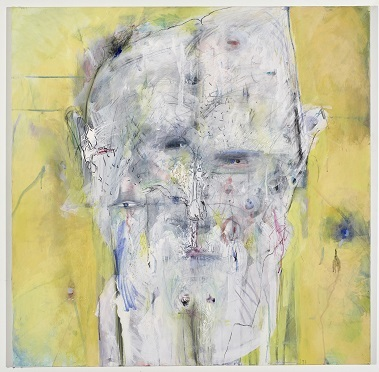 Ich als Bildsäule, 1997, Acryl, Kohle auf Leinwand, 100 x 100 cm
