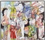 Rätselbild, 1995, Acryl und Kohle auf Leinwand, 110 x 100 cm