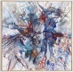 Blaue Stunde, 1995, Acryl und Farbstift auf Leinwand, 100 x 100 cm