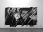Valentin van der Meulen, Soleil Nori, 2016, Kohle auf Papier montiert auf Holz, Radiergummi, Wasser, 2014 x 400 x 5 cm