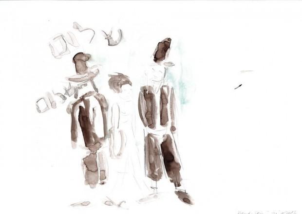 Barbara Petzold, fremd-sein, 2016, 21 x 29,7 cm, Bleistift u. Aquarell