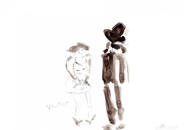Barbara Petzold, visitor, 2016, 21 x 29,7 cm, Bleistift u. Aquarell