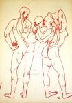 Bea Emsbach, Häute, 2008, rote Tinte auf Papier, 21,1 x 29,1 cm