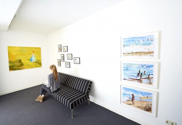 Raumansicht in der Galerie, Accrochage Einsichten 2017