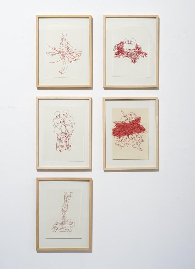 Bea Emsbach, Zeichnungen Kolbenfüller, rote Tinte, 21 x 30 cm, Serie Beutzüge im Bodensatz der Wissenschaften, 1998-2008