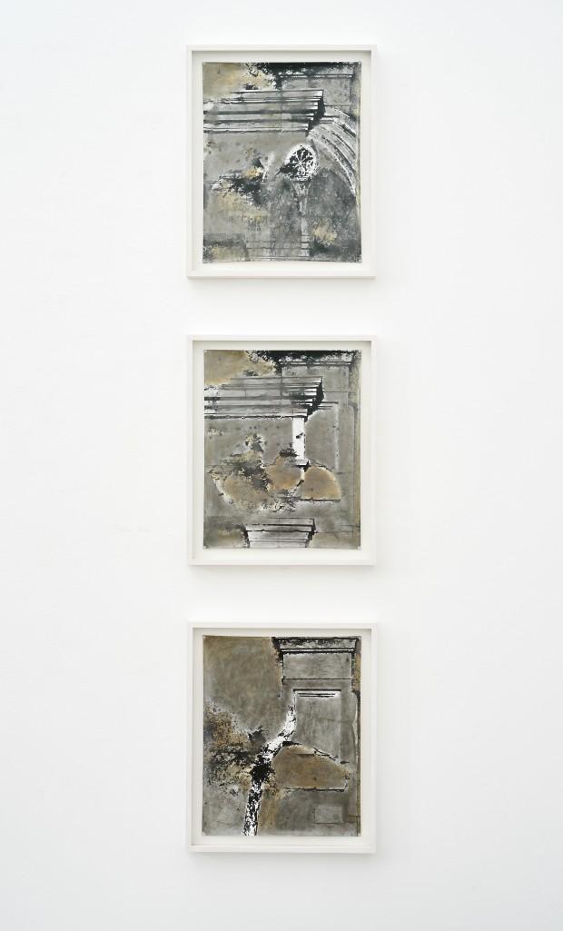 Stefan Kiess, mnemata I-III, 2017, an. Fotoarbeit, Graphit, Acryl, 50 x 40 cm