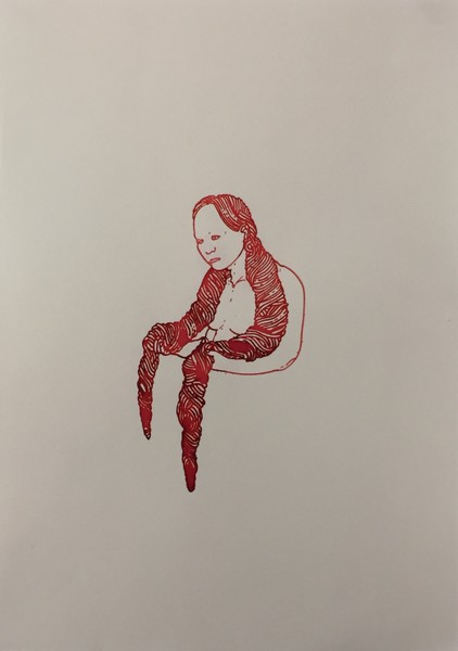 Bea Emsbach, Haar, 2002, Kolbenfüller_Rote Tinte auf Papier, 21x30 cm