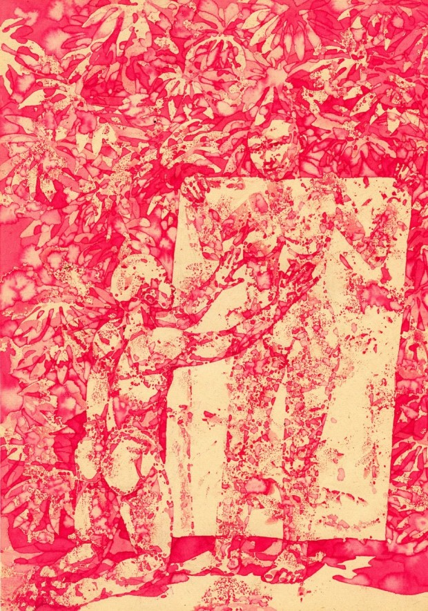 Bea Emsbach, Noli me tangere, 2017, Kolbenfüller_Rote Tinte auf Papier, 21x30 cm