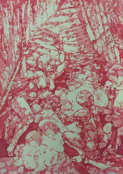 Bea Emsbach, Tanz, 2015, Kolbenfüller_Rote Tinte auf Papier, 21x30 cm