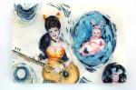 Cony Theis, Bunnies 10 (Gigi), 2013, Aquarell, Tusche und Ölfarbe auf Transparentpapier, 29,7x42 cm