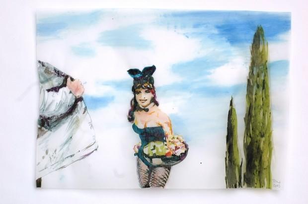 Cony Theis, Bunnies 2, 2013, Aquarell, Tusche und Ölfarbe auf Transparentpapier, 29,7x 42 cm