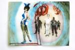 Cony Theis, Bunnies 3 (Jan), 2013, Aquarell, Tusche und Ölfarbe auf Transparentpapier, 29,7x42 cm