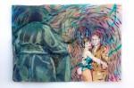 Cony Theis, Bunnies 4 (Lynn+Uncle Johnny), 2013, Aquarell, Tusche und Ölfarbe auf Transparentpapier, 29,7x42 cm