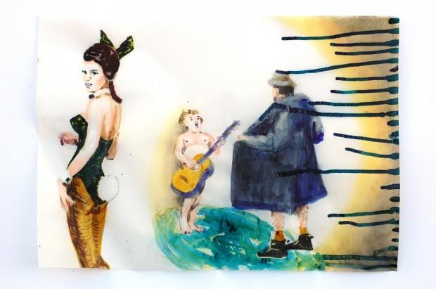 Cony Theis, Bunnies 5 (Solo) 2013, Aquarell, Tusche und Ölfarbe auf Transparentpapier, 29,7x 42 cm