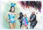 Cony Theis, Bunnies 7, 2013, Aquarell, Tusche und Ölfarbe auf Transparentpapier, 29,7x42 cm