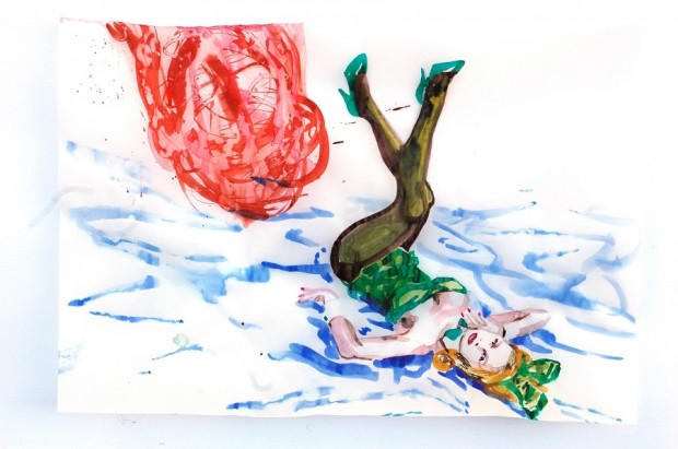 Cony Theis, Bunnies 8 (Julie), 2013, Aquarell, Tusche und Ölfarbe auf Transparentpapier, 29,7x 42 cm