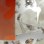Jörg Länger, Kranichkuss (Detail) 2010, Keramikfarben, mundgeblasene Antikgläser und Sandstrahlung auf ESG-Glas, 160 x 60 cm, Edelstahlsockel