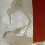 Jörg Länger, Kranichkuss (Detail), 2010, Keramikfarben, mundgeblasene Antikgläser und Sandstrahlung auf ESG-Glas, 160 x 60 cm, Edelstahlsockel