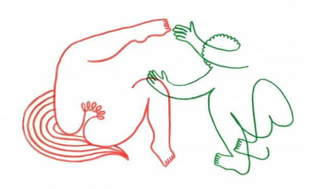 Julien Roux, Eroticly Correct 1, 2012, Flizstift auf Seidenpapier, 25 x 33,5 cm