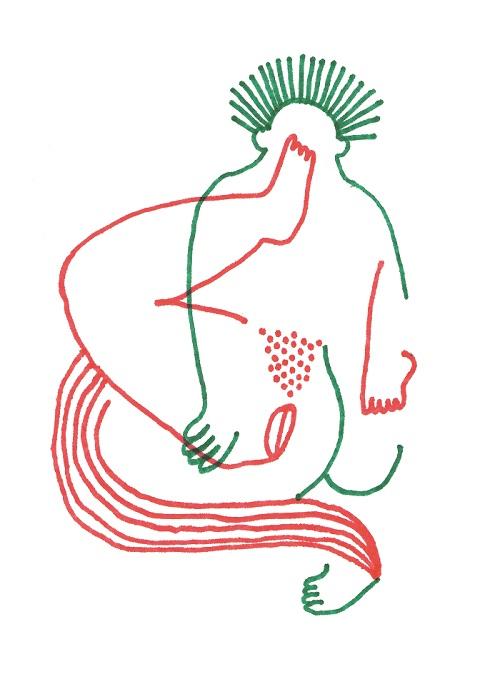 Julien Roux, Eroticly Correct 6, 2012, Flizstift auf Seidenpapier, 25 x 33,5 cm
