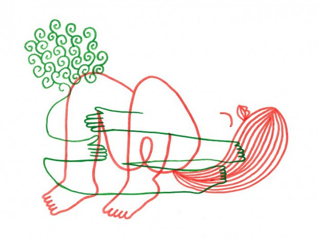 Julien Roux, Eroticly Correct 7, 2012, Flizstift auf Seidenpapier, 25 x 33,5 cm