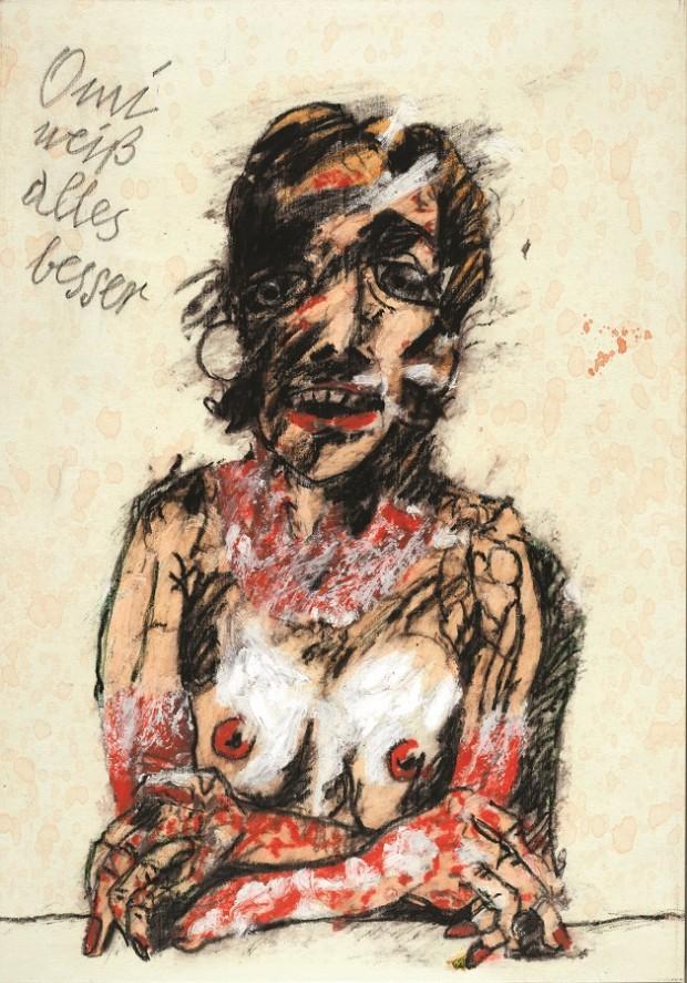 Peter Wehr, Omi weiß alles besser, 2017, Öl und Pastell auf Leinwand, 120x85 cm