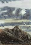 Peter Wehr, Steine, Steine und Staub, Pico de la Fortaleza, 1999, Wasserfarben und Kreide auf Papier, 100x70 cm