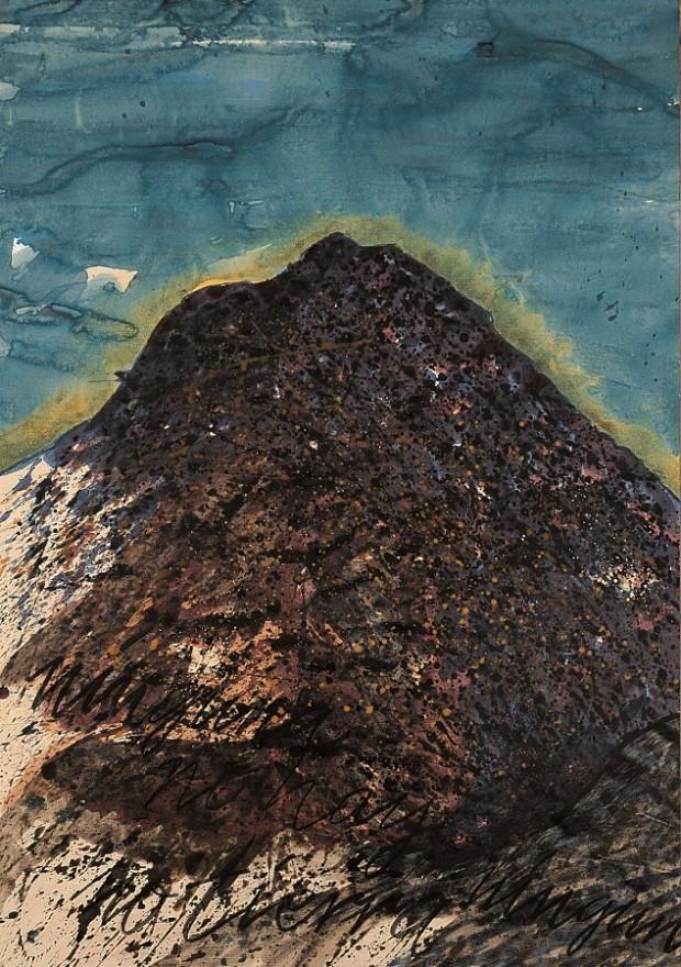 Peter Wehr, keine Erde, keine Erde, Toscas la Atalayeja, 2017, Wasserfarben und Kreide auf Papier, 100x70 cm