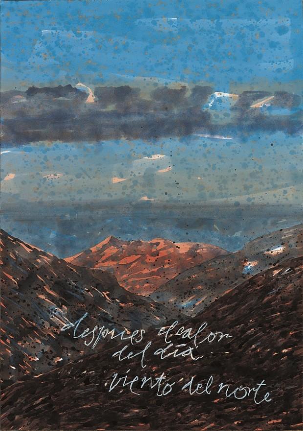 Peter Wehr, nach der Hitze des Tages/Wind aus dem Norden, Montaña Oliva, 2000, Wasserfarben und Kreide auf Papier, 100x70 cm