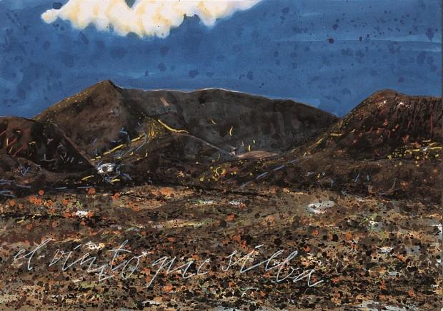 Peter Wehr, schon vier Tage blauer Himmel, Montañas Morros de Bayuyo, 2000, Wasserfarben und Kreide auf Papier, 70x100 cm