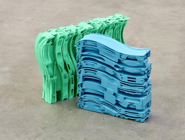 Fabian Hesse, Bits of Information (Türkis/Grün), 3D Drucke, PLA-NX2, Unikat, 2018, grün: 33 x 55 x 10 cm, türkis: 35 x 33 x 9 cm