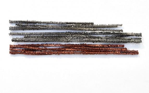 Fabian Hesse, Zeilen, 3D Drucke, PLA-PHA, Edelstahl, Kupfer, 2017, 117 x 11 x 8 cm / 136 x 12,7 x 7 cm / 134 x 11 x 8 cm