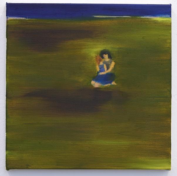 Barbara Petzold, Alm, 2018, Öl auf Leinen, 34 x 34 cm