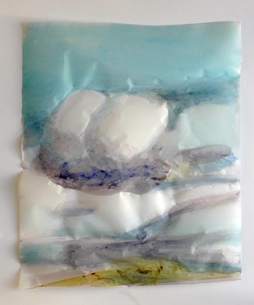 Cony Theis, Wolken I, 2009, Chin. Tusche, Ölfarben, Transparentpapier, 50 x 40 cm