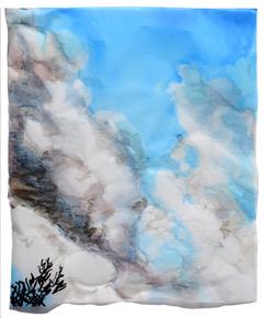 Cony Theis, Wolken II, 2018, Chin. Tusche, Ölpigmente,Transparentpapier, 60 x 50 cm