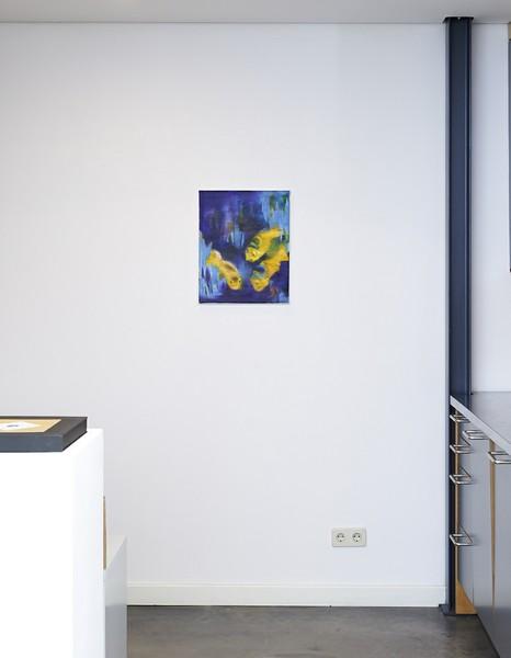 Galerieansicht mit Barbara Petzold, mixed fish, 2018, Öl auf Nessel, 18 x 24 cm