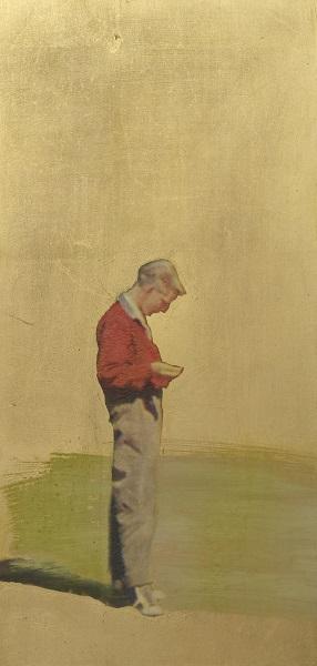Thomas Kälberloh, aus der Serie Ikonen (Spielender Junge), 2017, Mixed Media / Aludibond, 50 x 24 cm