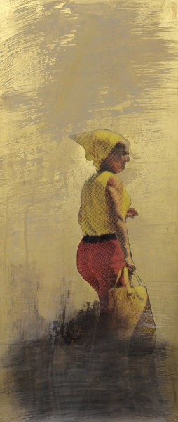 Thomas Kälberloh, aus der Serie Ikonen (Zipfel), 2017, Mixed Media / Aludibond, 56 x 24 cm