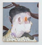 Lou Ros, Selbstporträt Nr. 2, 2018, Öl, Acryl, Pastel, Aquarell auf Leinwand, 55 x 50 cm