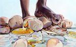 Amina Broggi, Einen Eiertanz aufführen 1, 2018, Acryl auf Leinwand, 50 x 80 cm