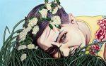 Amina Broggi, Ins Gras beißen 1, 2018, Acryl auf Leinwand, 50 x 80 cm