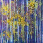 Cris Pink, Hörspiele der Blätter, 2019, Öl auf Leinwand, 160 x 160 cm