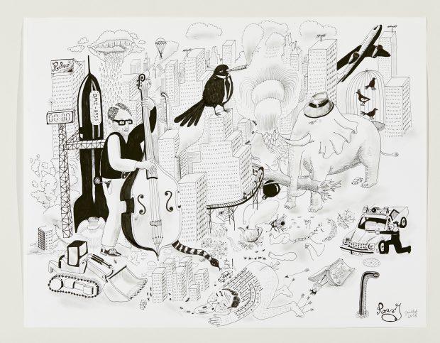 Julien Roux, Apocalypse VI, 2008, Marker auf Papier, 50 x 65 cm