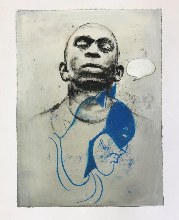 Ransome Stanley, Heroes 1, 2019, Mischtechnik auf Papier, 40 x 30 cm